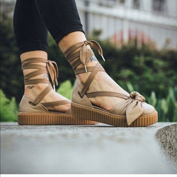 save off 7b0b9 04a64 Fenty Puma Oatmeal Bow Creeper Sandals